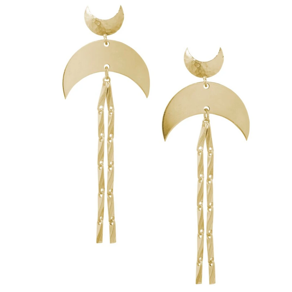 Super Moon Brass Earrings - Leo With Love
