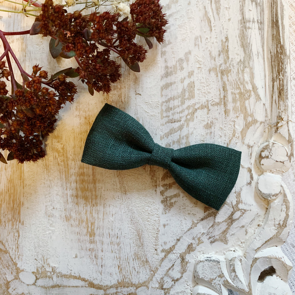 Dark Green Linen Bow Tie