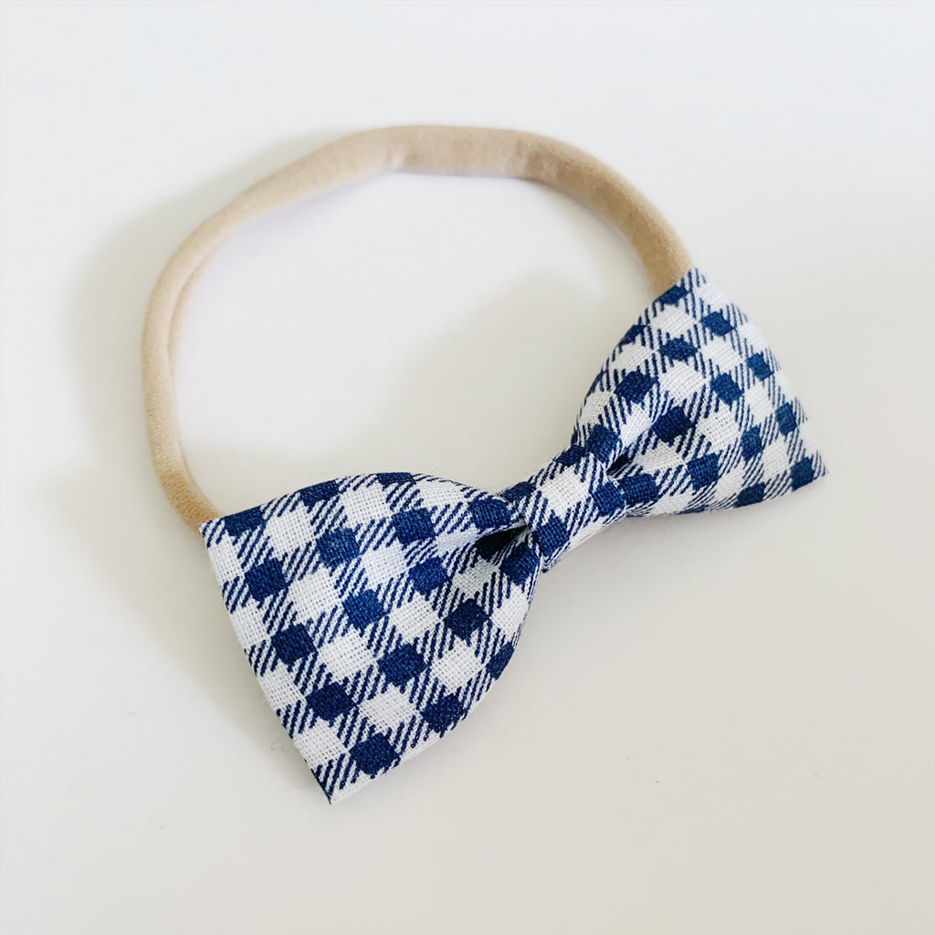 Blue and White Plaid Bow Tie - Ever Iris Designs