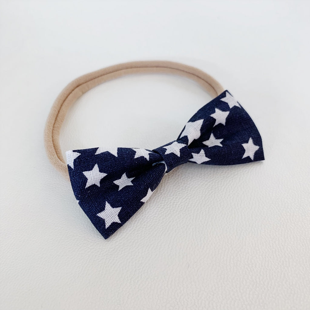 Blue with White Stars Bow Tie - Ever Iris Designs