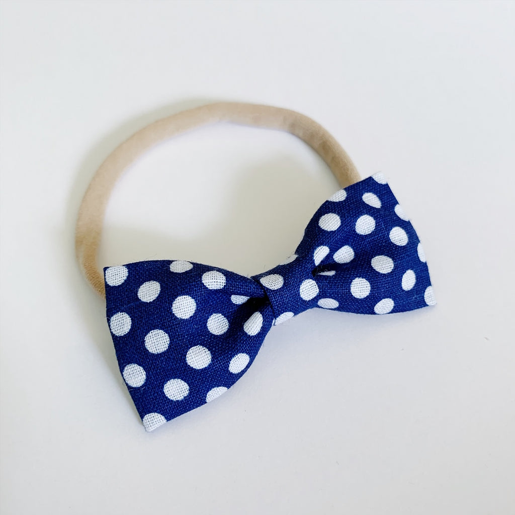 Navy with Large White Polka Dots Bow Tie - Ever Iris Designs