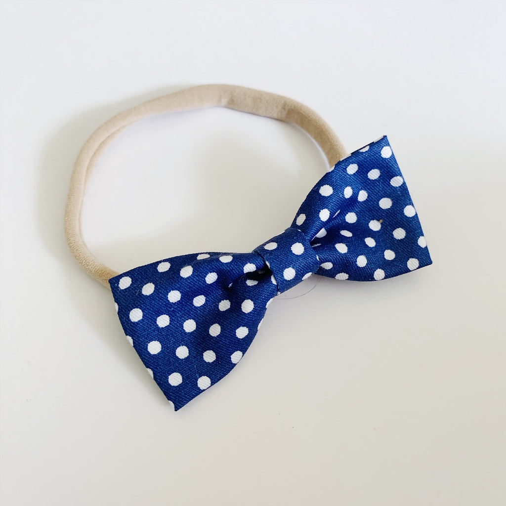 Navy with White Polka Dots Bow Tie