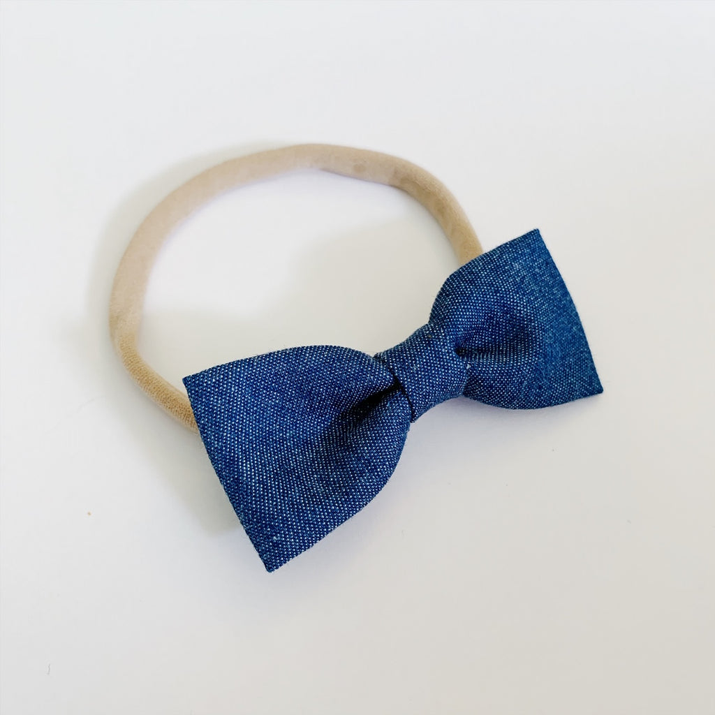 Soft Denim Bow Tie - Ever Iris Designs