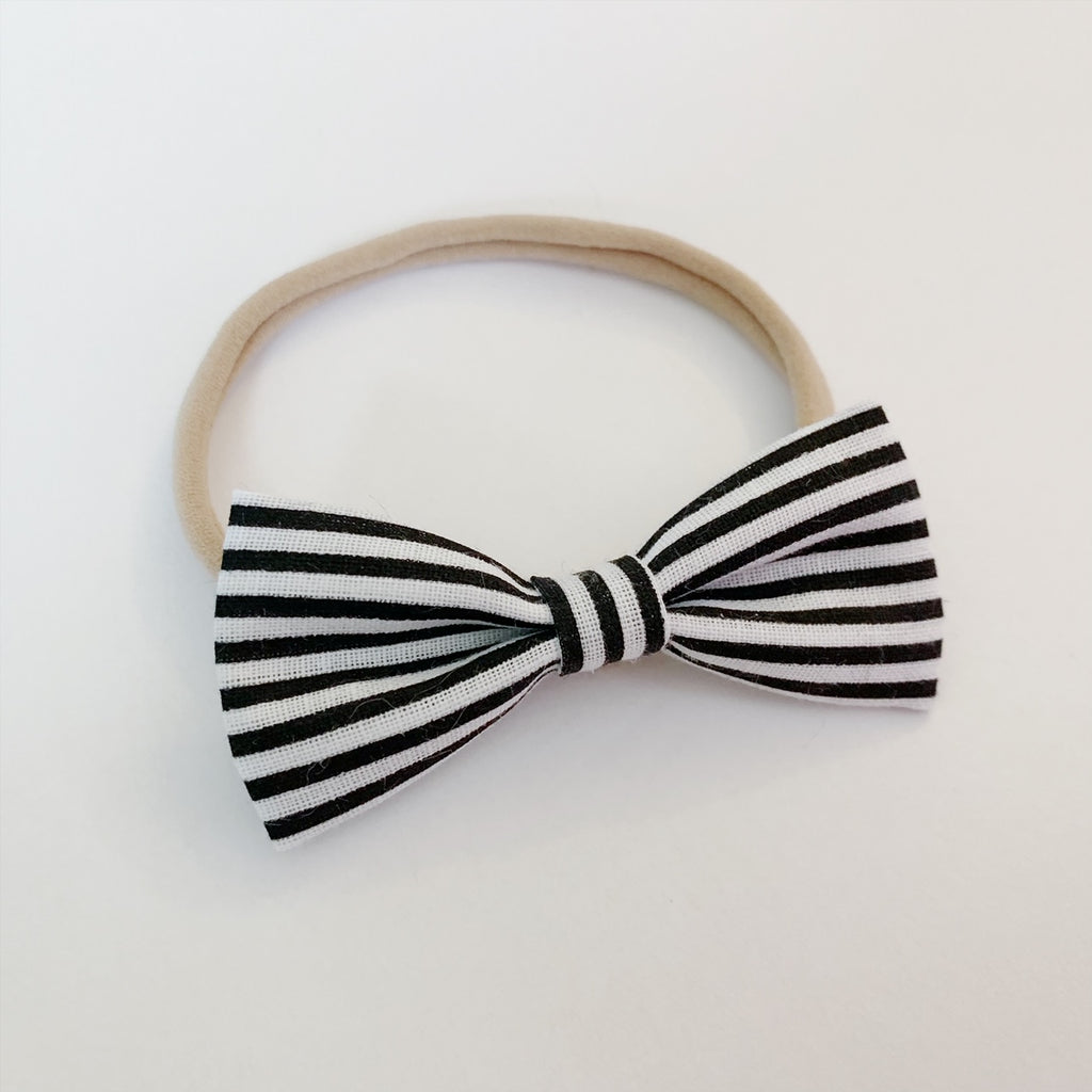 Black Skinny Stripe Bow Tie