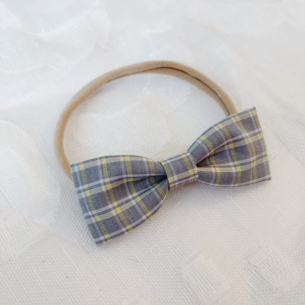 Grey and Yellow Plaid Bow Tie - Ever Iris Designs