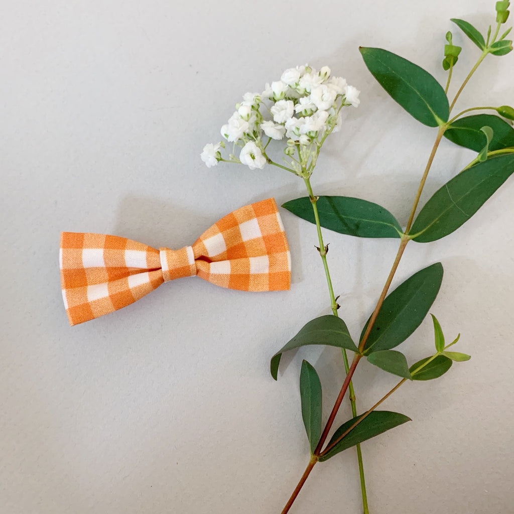 Orange and White Plaid Bow Tie - Ever Iris Designs