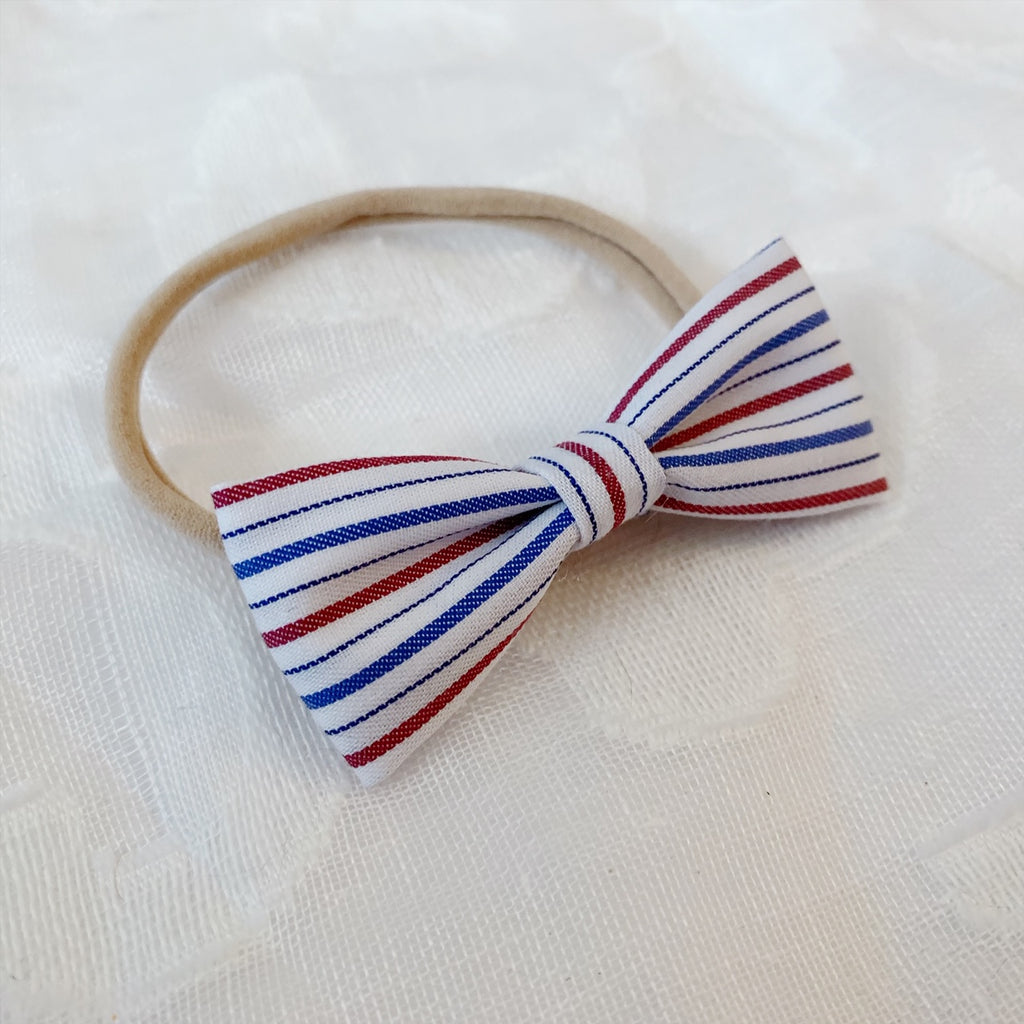 Red, White and Blue Skinny Stripe Bow Tie - Ever Iris Designs