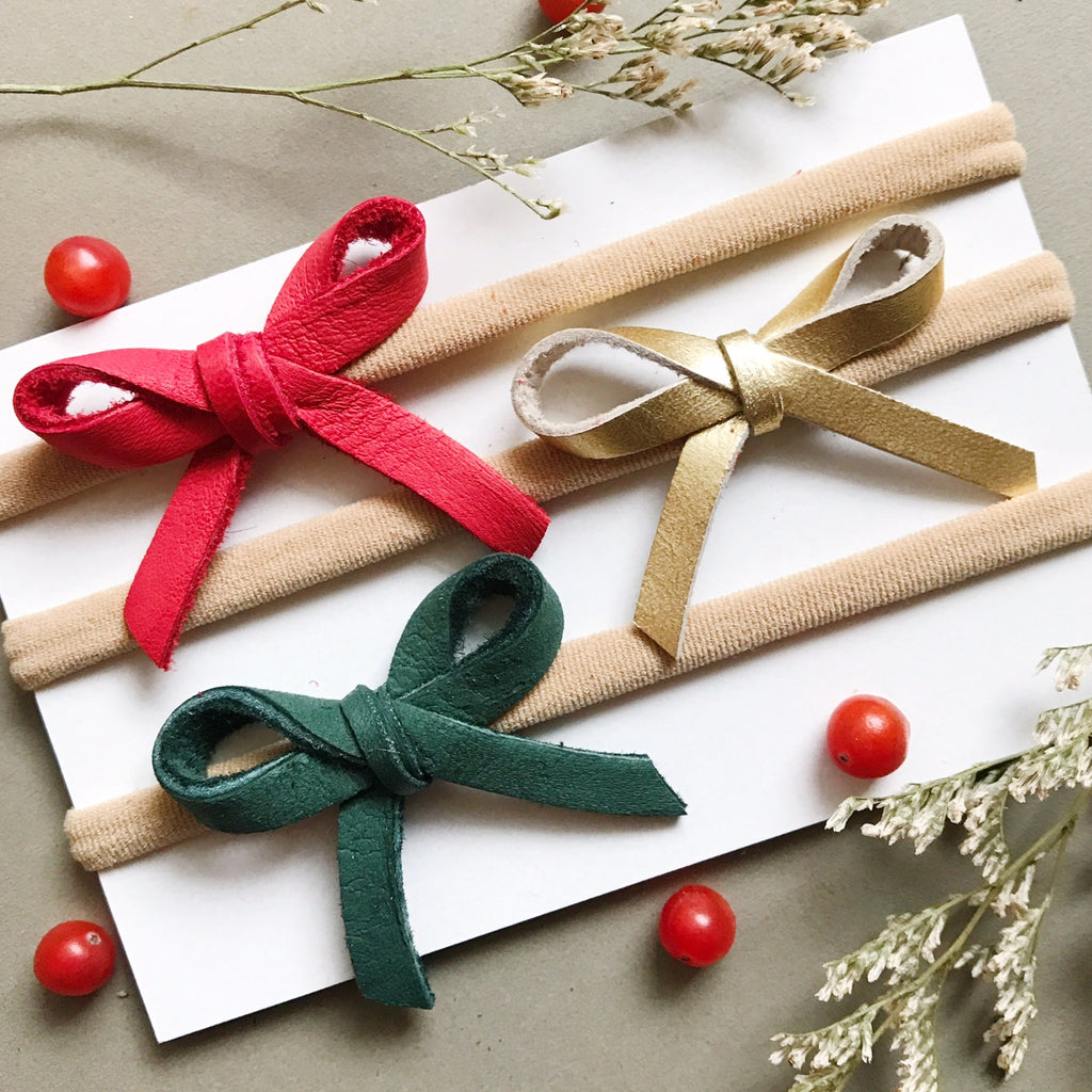 Holiday Bow Collection  -  Leather - Ever Iris Designs
