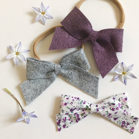 School Girl Heathered Felt and Floral Collection - Ever Iris Designs