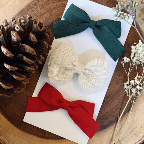 Holiday Avery Linen Bow Set