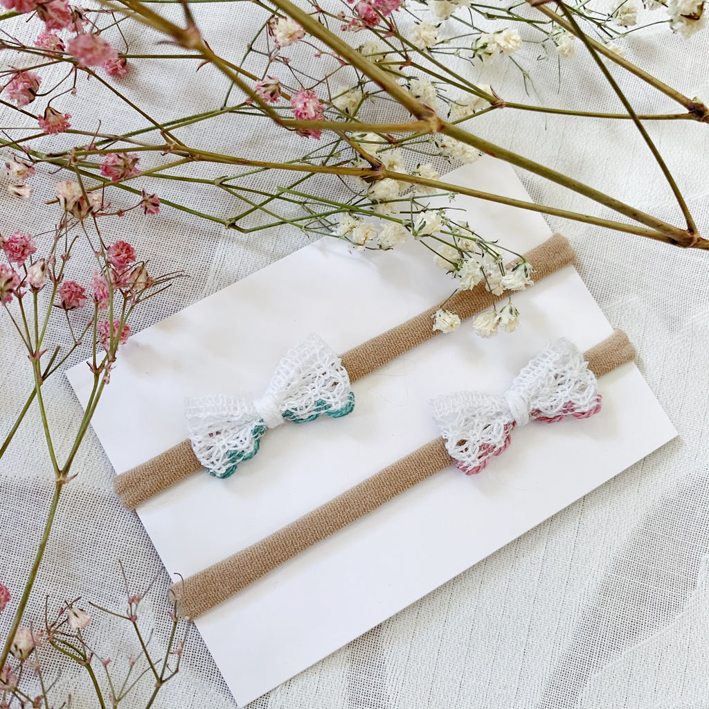Itty Bitty Dipped Lace Bows - Ever Iris Designs