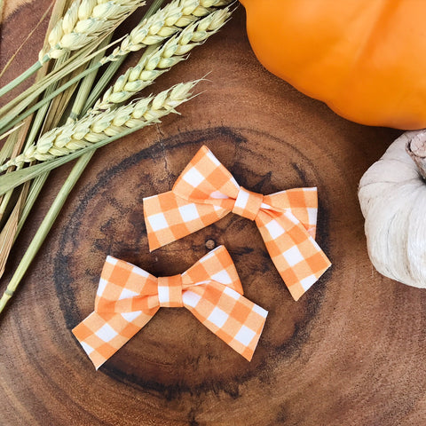 Mini School Girl Orange and White Plaid - Ever Iris Designs