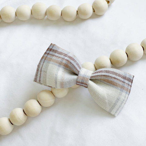 Neutral Plaid Bow Tie