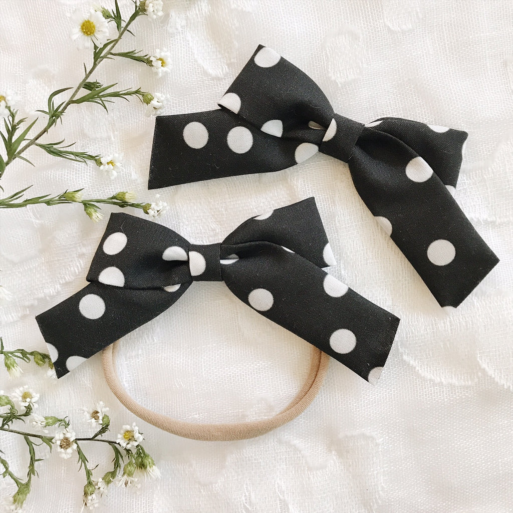 School Girl Black With White Polka Dots