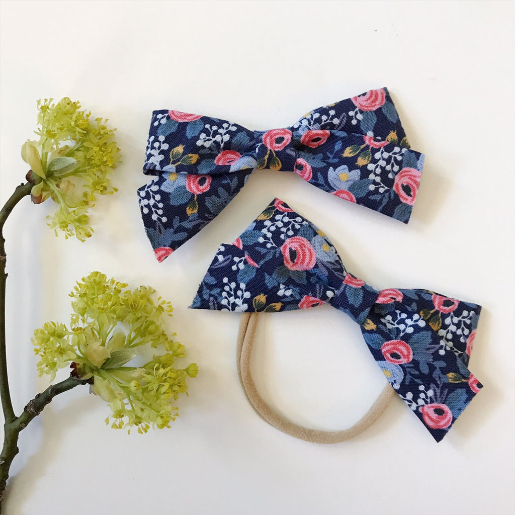 School Girl Flora Dark Blue - Ever Iris Designs