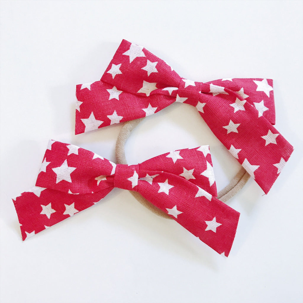 School Girl Red and White Stars