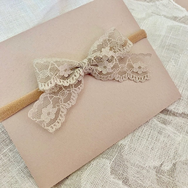 Taupe Lace Bow - Ever Iris Designs