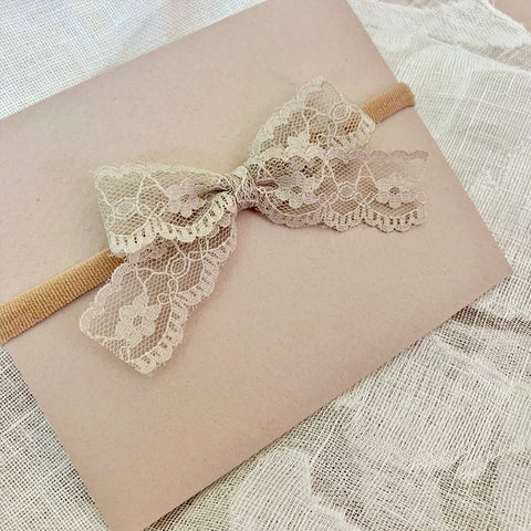 Taupe Lace Bow