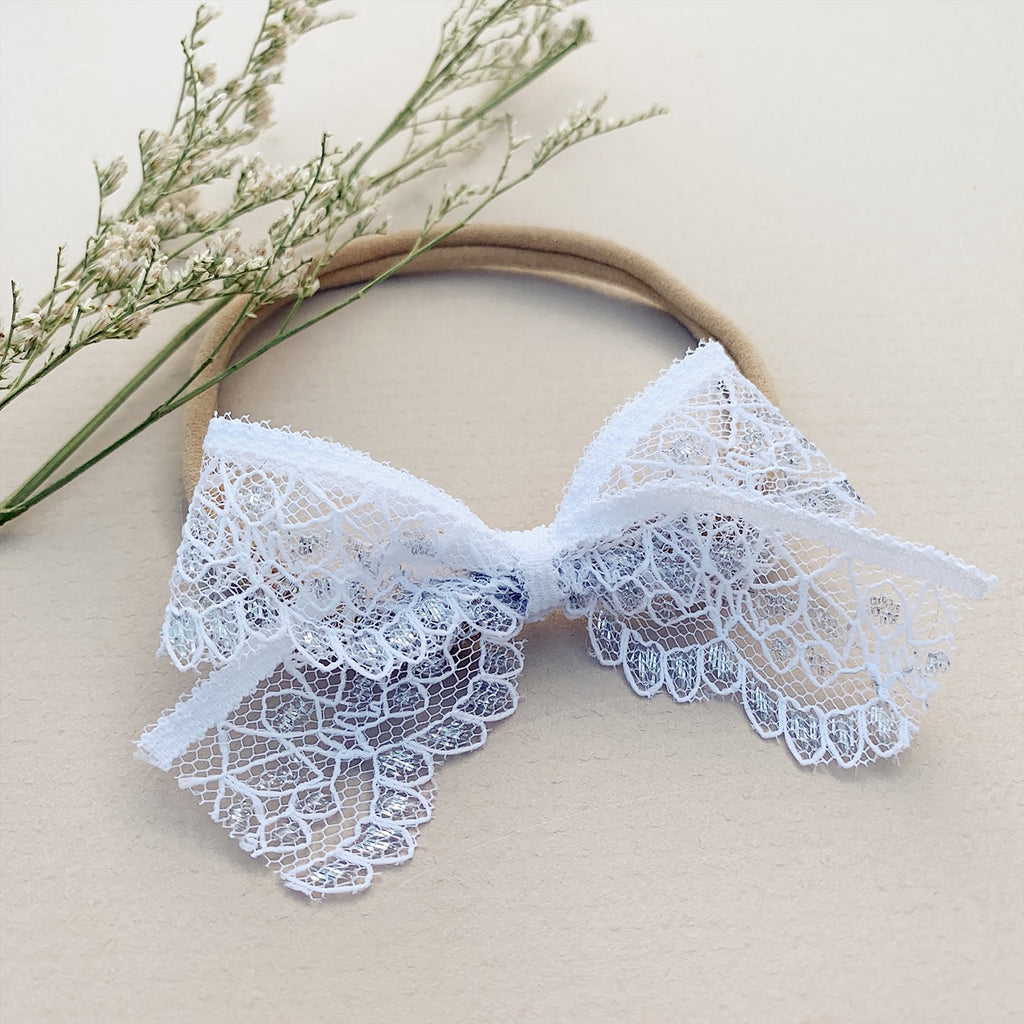White and Silver Winter Lace