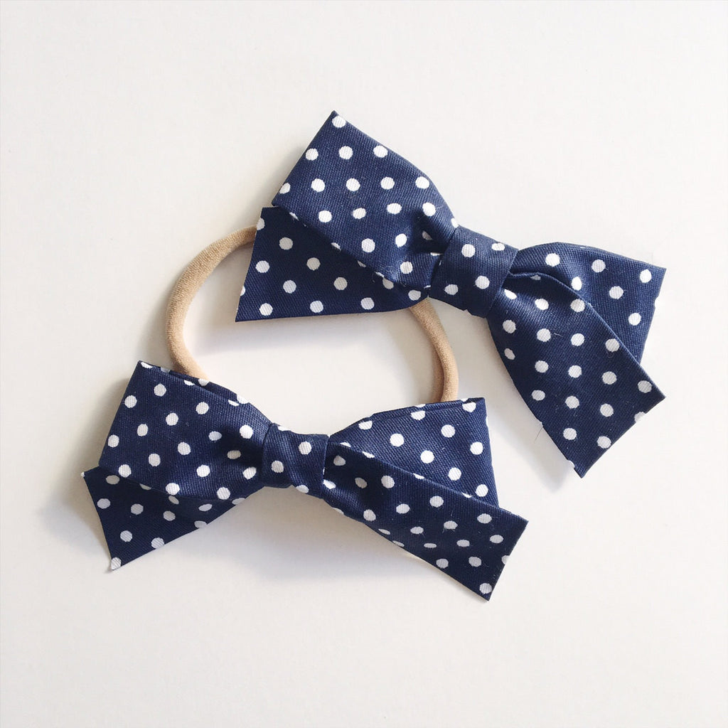 School Girl Navy with White Polka Dots - Ever Iris Designs