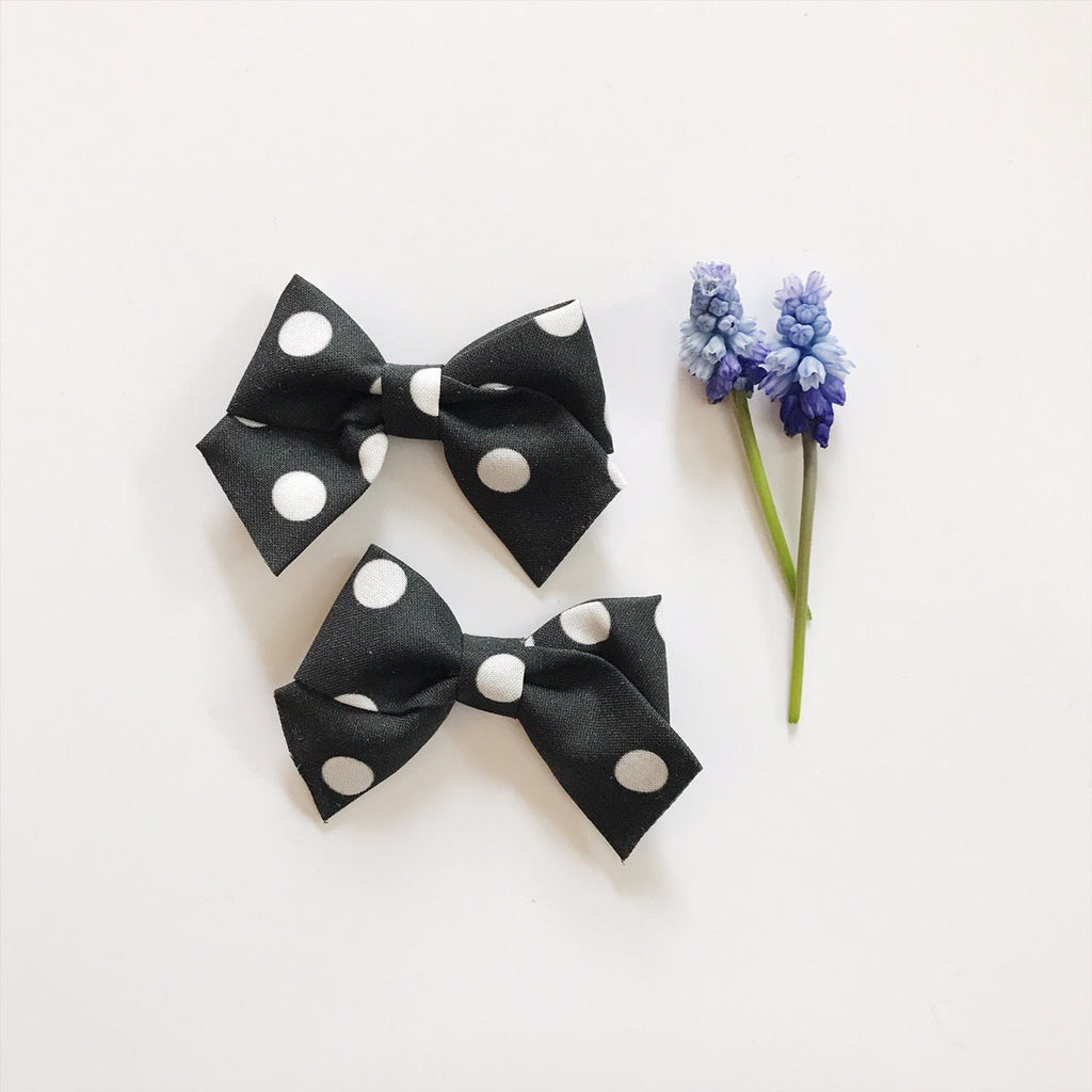 Mini School Girl Black With White Polka Dot