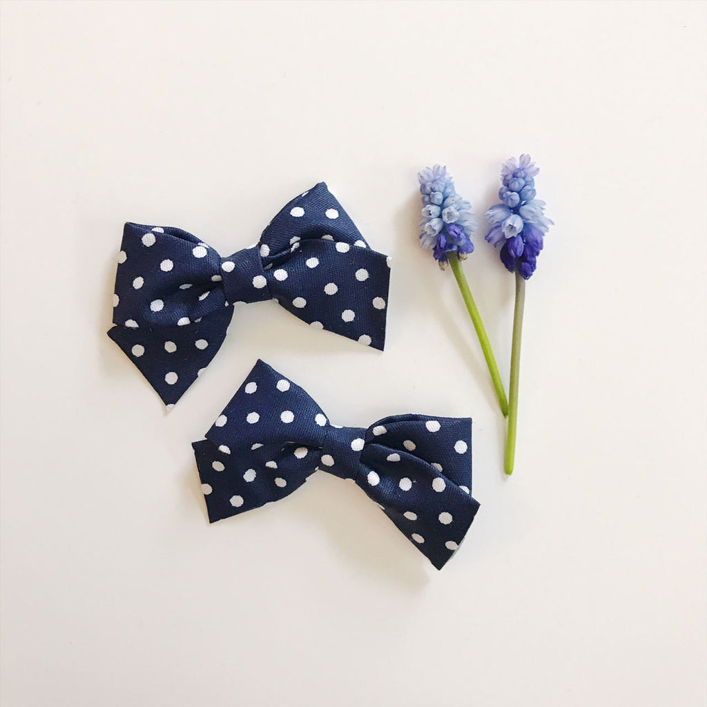 Mini School Girl Navy with White Polka Dots - Ever Iris Designs