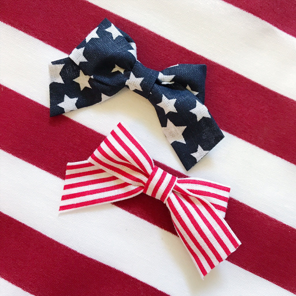 Mini School Girl Stars and Stripes Pigtail Set - Ever Iris Designs