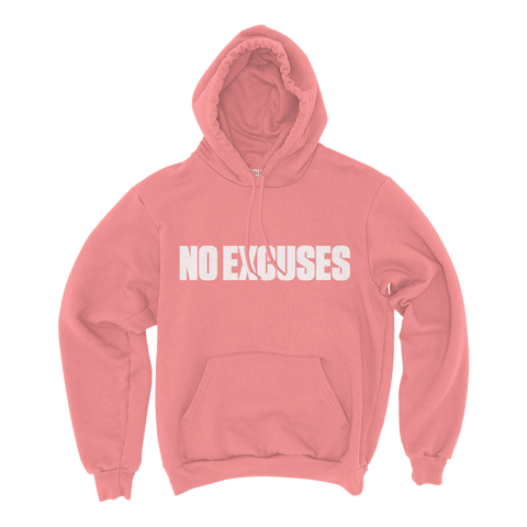 No Excuses Pullover Hoodie (Coral)