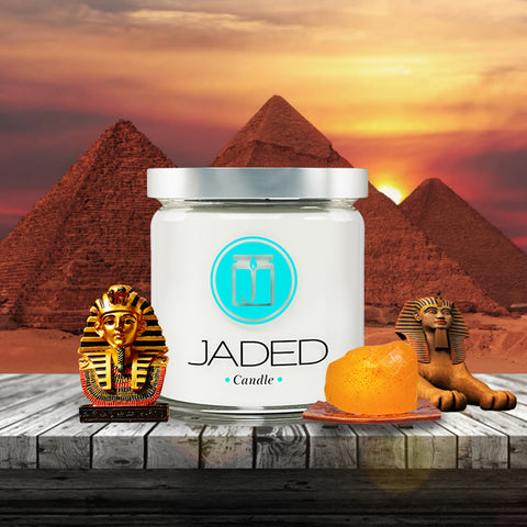 JADED CANDLE; EGYPTIAN AMBER CANDLE