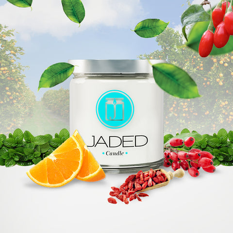 JADED CANDLE; ORANGE AND GOJI BERRY SCENTED SOY CANDLE