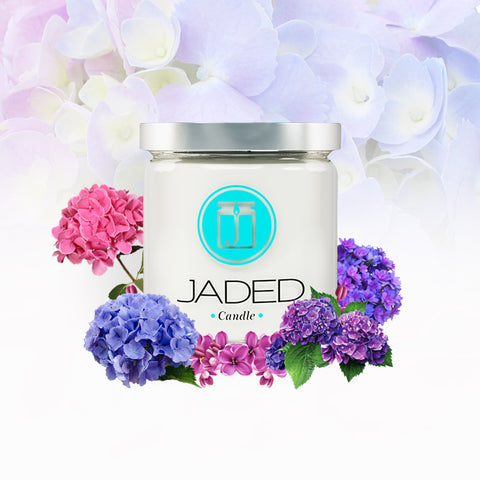 JADED CANDLE HYDRANGEA CANDLE, AZORE ISLANDS FLOWER CANDLE