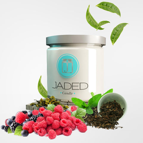 JADED CANDLE; WHITE TEA BERRIES; ELDERBERRY CANDLE, CRANBERRY CANDLE, RASPBERRY CANDLE; BERRILICIOUS SCENTED SOY CANDLE