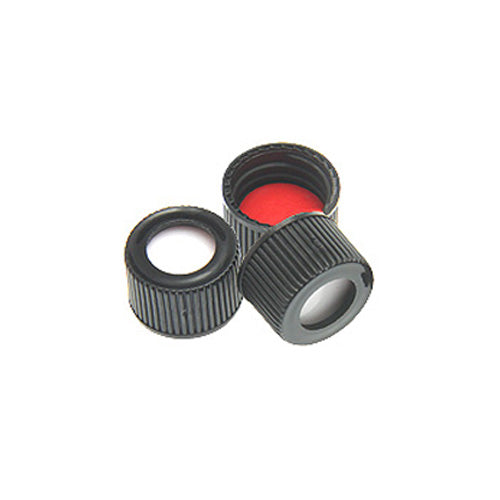 13 mm Screw Caps, Black, Red PTFE/White Silicone Septa, 100 pcs/pk