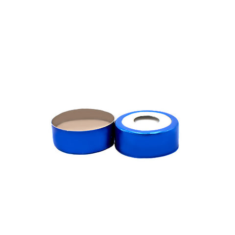 20 mm Bi-metallic Crimp Caps with Septa, Blue and Silver, 100 pcs/pk