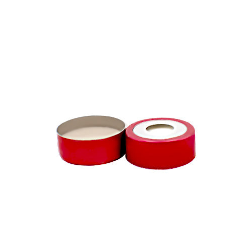 20 mm Bi-Metallic Crimp Cap with Septa, Red and Silver, 100 pcs/pk
