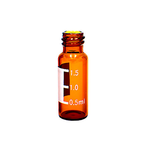 9 mm Screw Top Vials with Labels, Amber glass, 100 pcs/pk