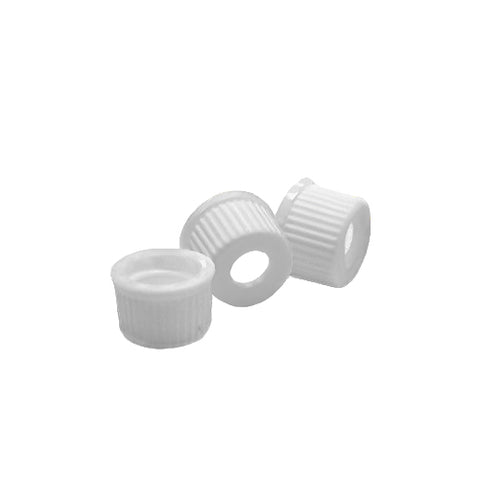 8-425 Screw Thread Caps with Septa, White, Red PTFE/White Silicone Septa, 100 pcs/pk