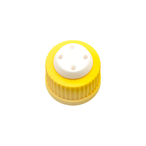 "GL45 Safety Cap, Yellow, Four Holes for 1/16"" OD Tubing, 1 pc/pk"