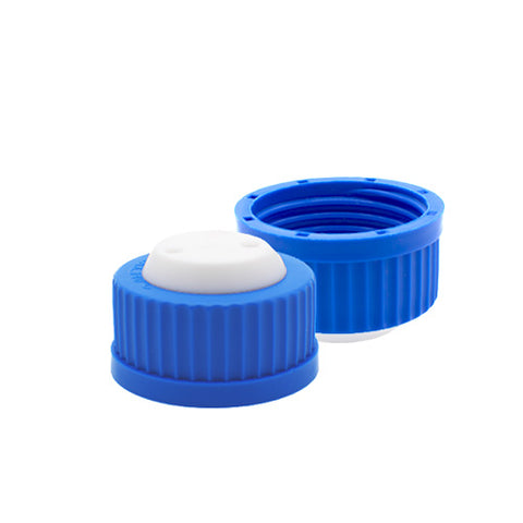 "GL45 Safety Cap, Blue, Two Holes for 1/8"" OD Tubing, 1 pc/pk"