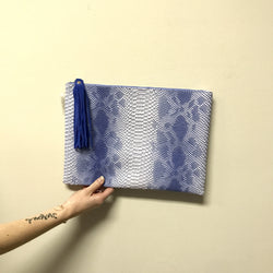 Blue Snakeskin Clutch