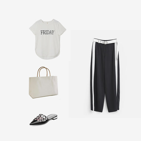 casual minimalism outfit black and white
