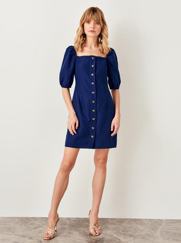 PUFF SLEVE INDIGO DRESS