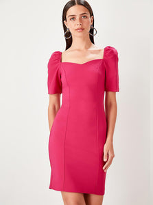FUCHSIA PUFF SLEEVE BODYCON DRESS