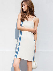 CASUAL WHITE DRESS WITH BLUE STRIPES - IMPAVIID