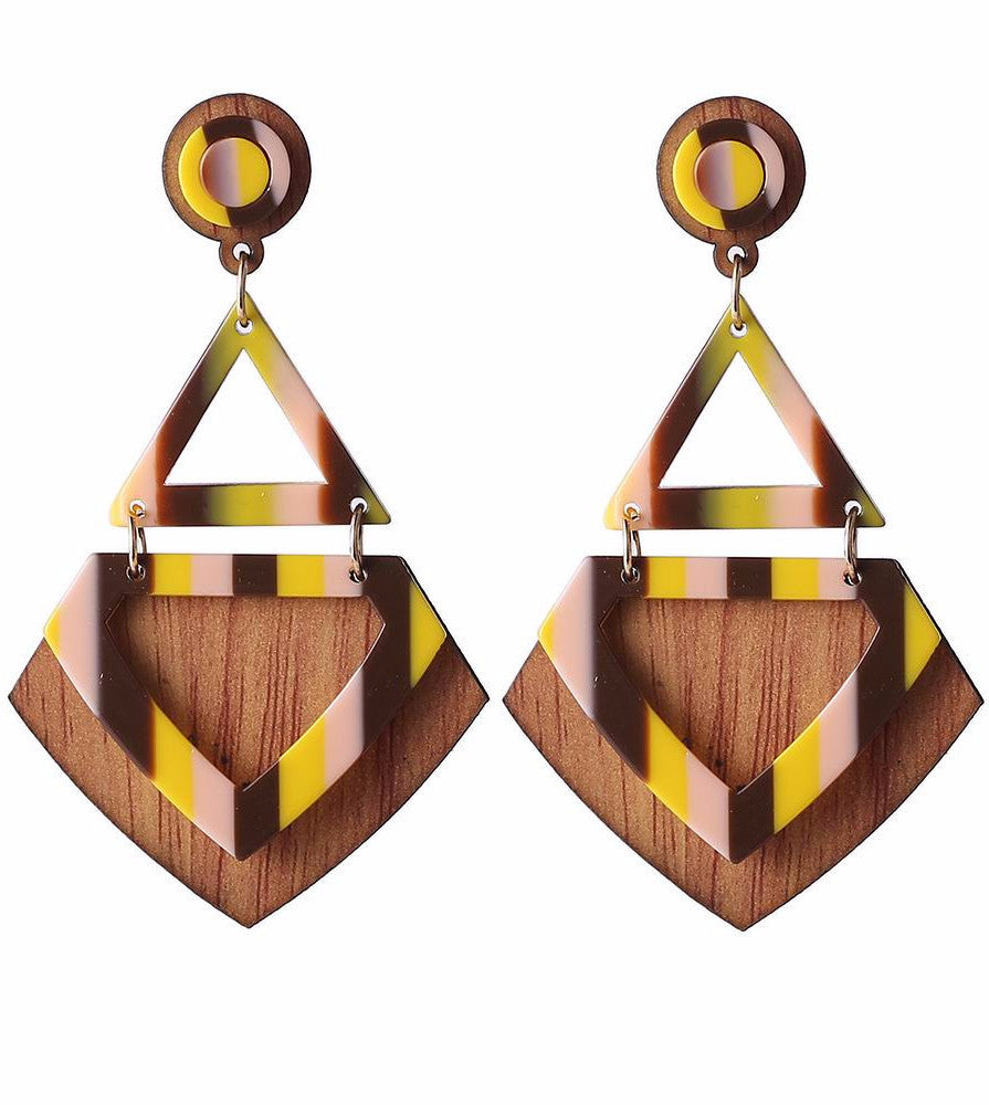 WOODEN GEOMETRIC STRIPED EARRINGS 6 COLORS - impaviid