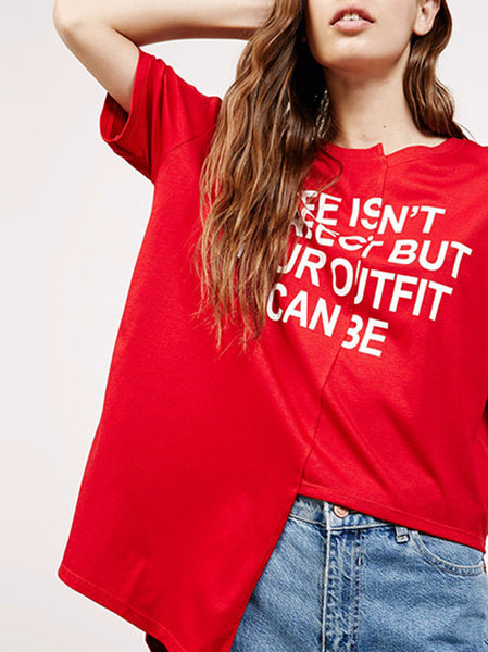 HDY ASYMMETRICAL BASIC TOP T-SHIRT LETTER PRINT LOOSE KOREAN STYLE
