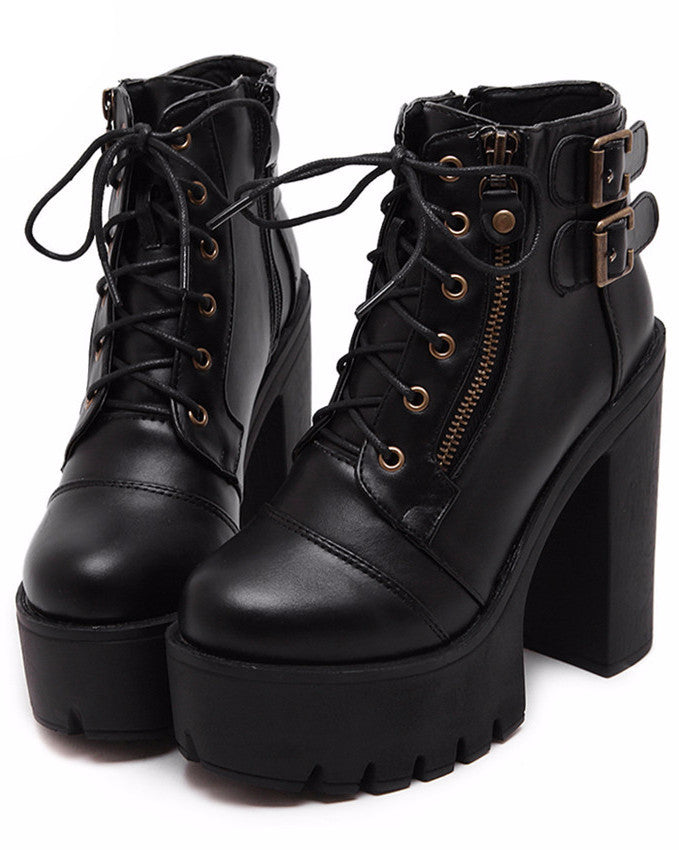 HIGH PLATFORM ANKLE BOOTS WITH BUCKLE STRAPS VEGAN LEATHER - impaviid