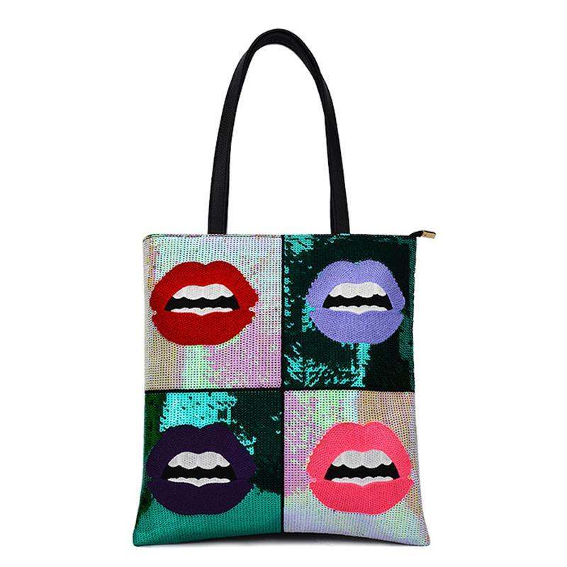 GRAPHIC SEQUINED POP VĂN HÓA TOTE BAG VEGAN DA - impaviid