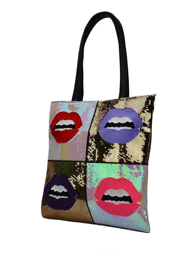 GRAPHIC SEQUINED POP CULTURE TOTE BAG VEGAN LEATHER - непридатний