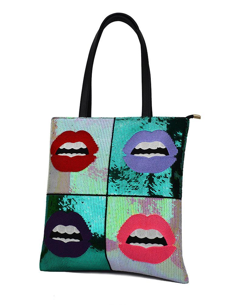 GRAPHIC SEQUINED POP CULTURE TOTE BAG VEGAN LEATHER - impaviid